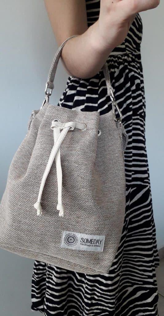 Linen Bucket Bag