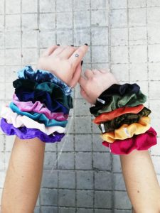 Velvet Scrunchy Deep Red