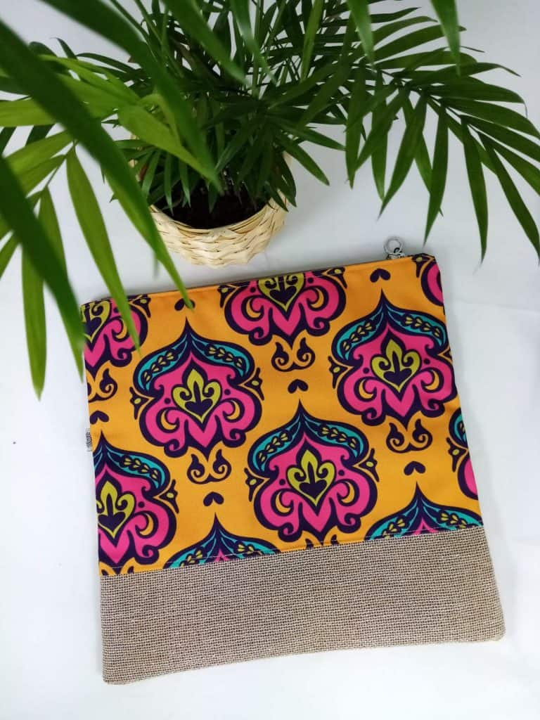 Yellow Damask Foldover Bag