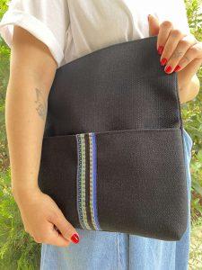 Foldover Black Linen