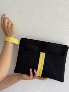 Medium Black Linen with Yellow Strap