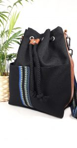 Black Linen Bucket Bag