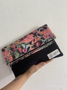 Black Flamingo Foldover Bag