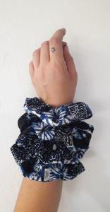 Blue Marbel Scrunchy