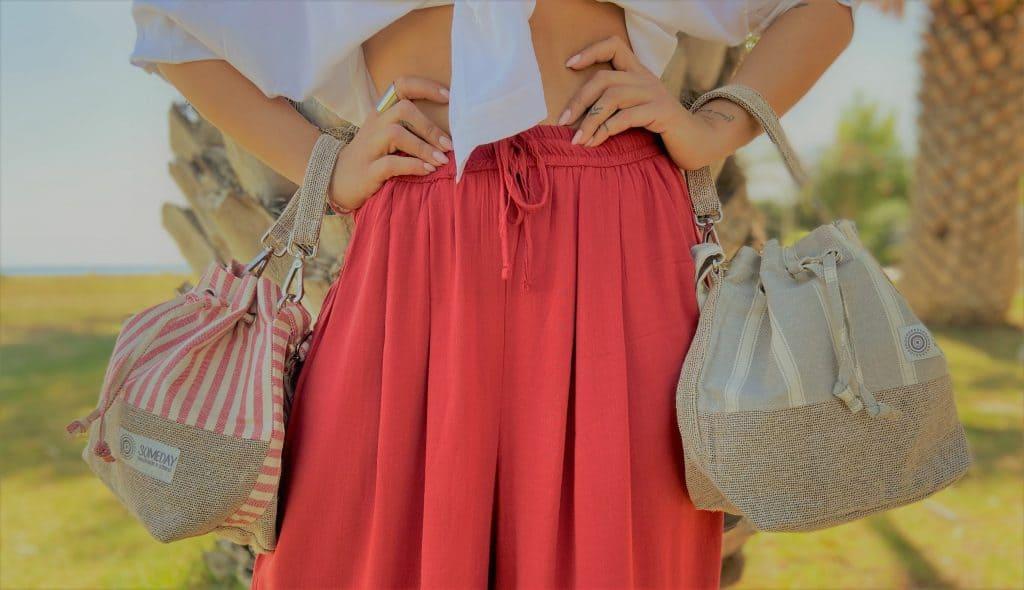 Red Stripes Bucket Bag