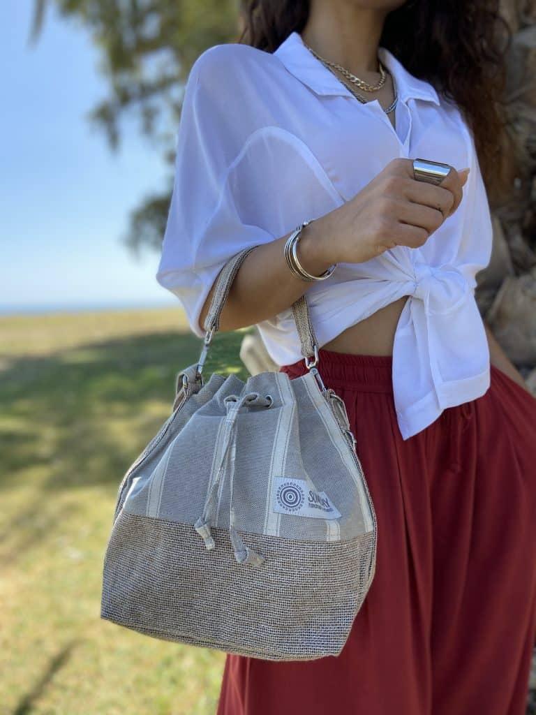 Grey Stripes Bucket Bag